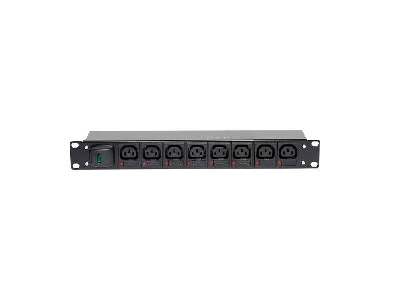 1U Horizontal IEC C13 Fused per Outlet PDU